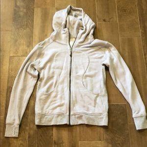 Gray lululemon zip up sweatshirt with hood